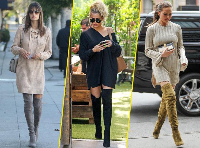 Alessandra Ambrosio, Khloe Kardashian, Chrissy Teigen... La robe pull, le must have de l'hiver !