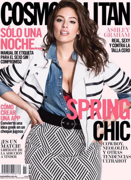 Photos : Ashley Graham : sexy et pulpeuse en couverture de Cosmopolitan Mexique et Glamour US !