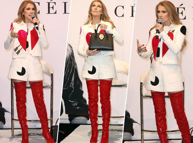 Céline Dion : Ultra sexy en cuissardes rouges pour présenter sa collection de sacs à main !