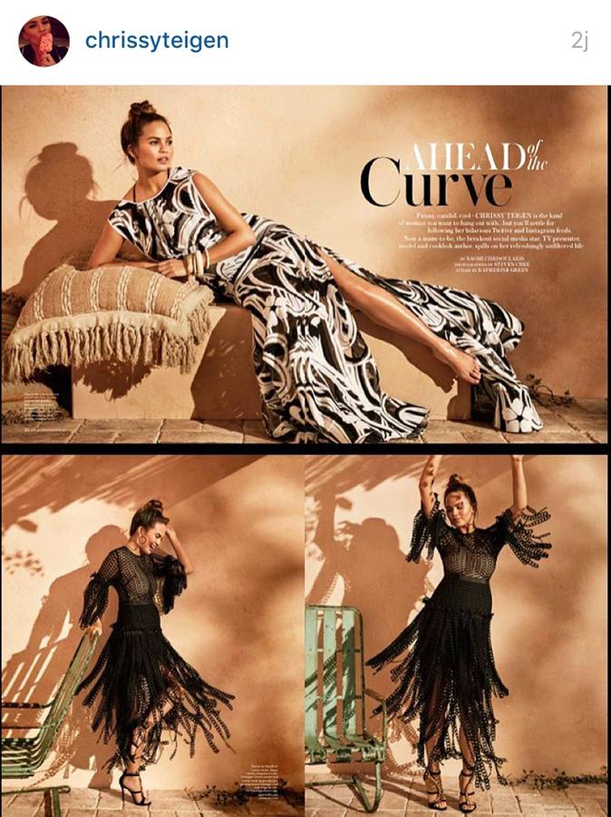 Photos : Chrissy Teigen s'affiche enceinte en couverture de In Style Australie