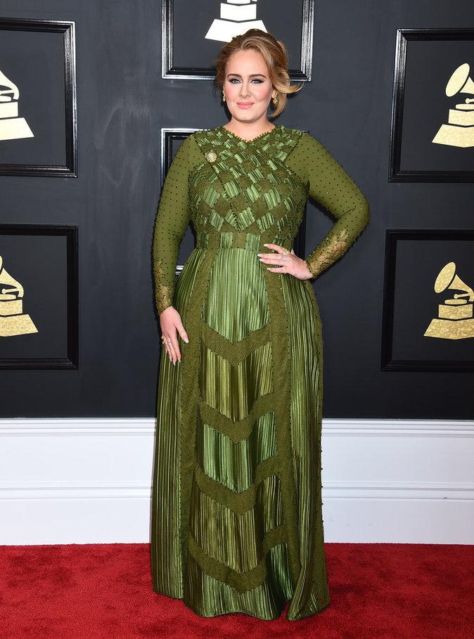 robe de soirée verte longue à manche longue Adele