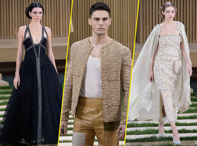 Kendall Jenner, Baptiste Giabiconi et Gigi Hadid au défilé Chanel Haute Couture