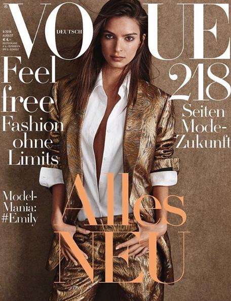 Emily Ratajkowsk ultra stylée en couverture de Vogue Allemagne