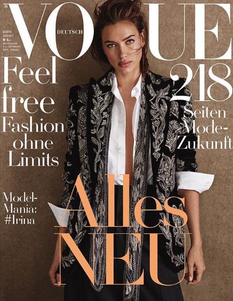 Irina Shayk ultra stylée en couverture de Vogue Allemagne