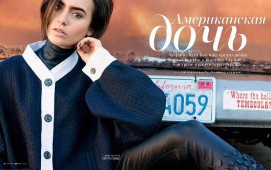 Vogue Russie a choisi Lily Collins pour son magazine de janvier