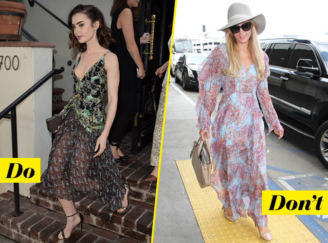 La robe fleurie - Do : Lily Collins / Don't : Paris Hilton
