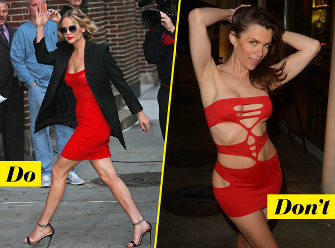 La robe rouge courte et moulante - DO : Jennifer Lawrence / Don't : Alicia Arden