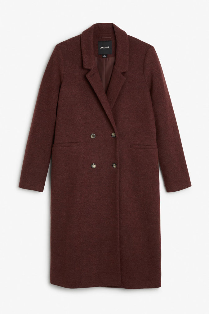 Manteau long bordeaux - MONKI - 80€.