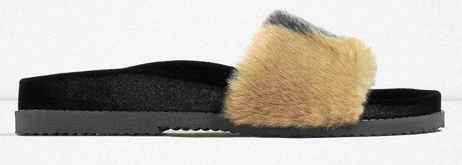 Claquettes en fourrure, Zara 39,95 €