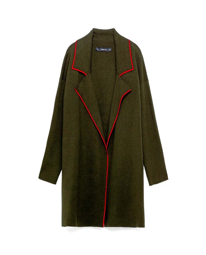 Manteau en maille, Zara 49,95 €