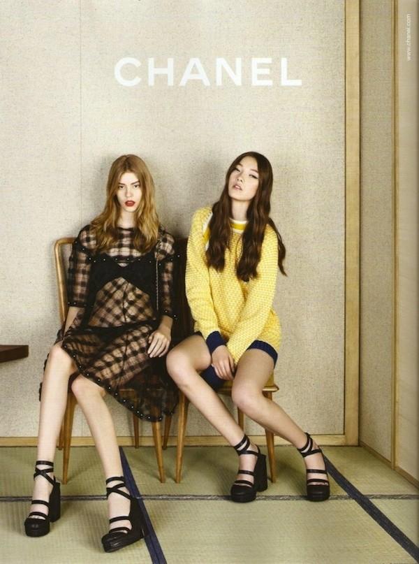 Ondria Hardin et Yumi Lambert dans la campagne Chanel Spring-Summer 2013.