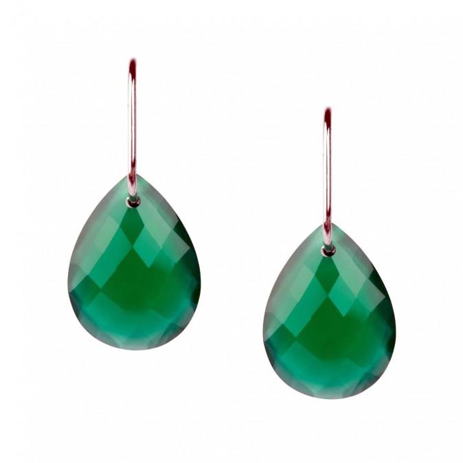 Boucles d'oreilles en agate verte et or blanc, Morganne Bello 300 €