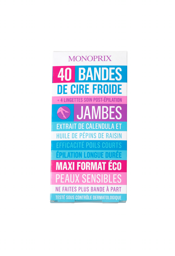 40 bandes de cire froide jambes, Monoprix 5,69 €