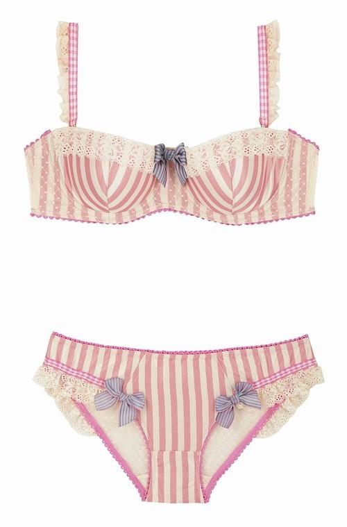 Soutien-gorge balconnet et culotte rayés en coton et dentelle, Soleil Sucré 22,90 €