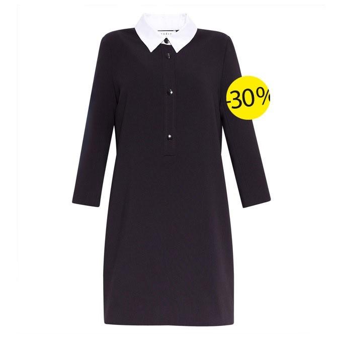 Robe en piqué de coton col contrasté, Sandro : 115,5 au lieu de 165 euros