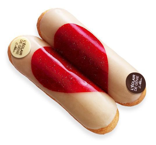 Éclair à la vanille de Madagascar et rose de Damas, et éclair chocolat gianduja, Duo de Saint-Valentin, L'Éclair de génie 12 €