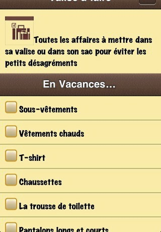 Valise Checklist, application pour ne rien oublier dans valise !