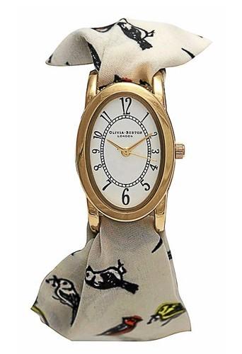 Bracelet écharpe blanche imprimé oiseaux, Olivia Burton, 82€.