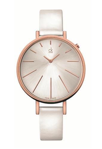 Bracelet en cuir blanc et cadran argent, Calvin Klein 230 €.