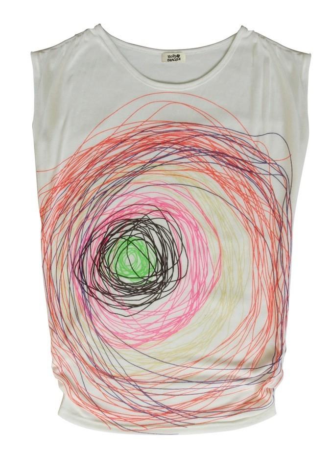 T-shirt blanc motif Gribouillis manches courtes, Molly Bracken. 40 €