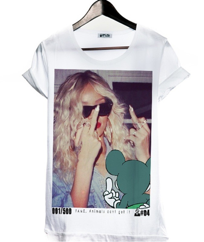 T-shirt en coton imprimé Rihanna & Mickey. Never tell your Tailor. 55 €