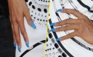 Faux ongles bleus de Mia Frye