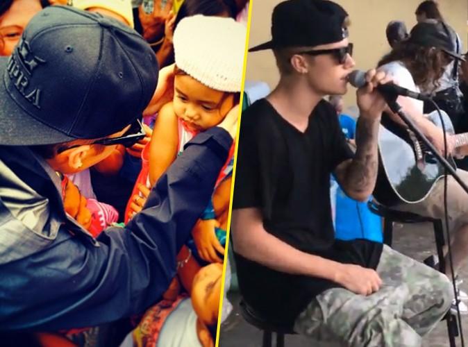Justin Bieber : aux Philippines, il chante pour les enfants rescapés du typhon Haiyan !