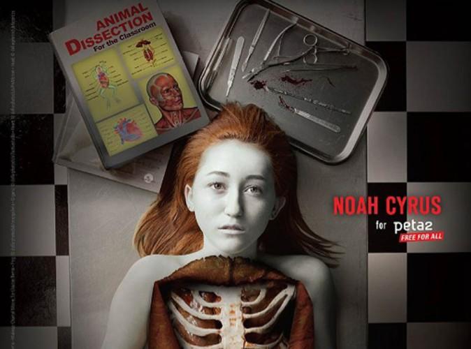 Miley Cyrus : sa petite soeur sanguinolante et à coeur ouvert pour la PETA !
