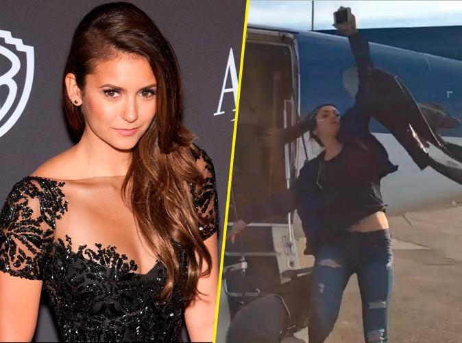 Nina Dobrev : découvrez sa chute magistrale à la sortie d'un avion !