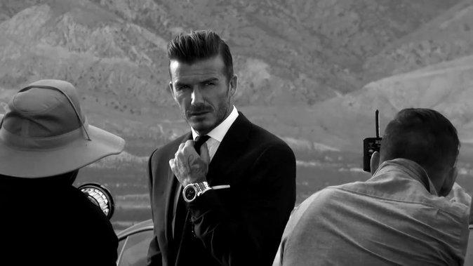 David Beckham sur le tournage de la publicité des montres Breitling pour Bentley