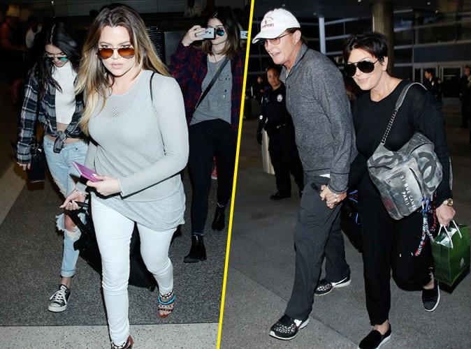 Kris et Bruce Jenner à Los Angeles avec leurs filles le 2 avril 2014