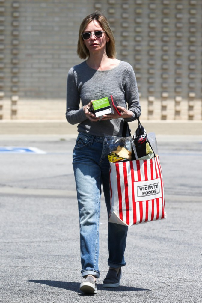 Calista Flockhart en pleine séance shopping