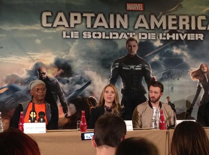 Samuel L. Jackson, Scarlett Johansson et Chris Evans à Paris le 17 mars 2014