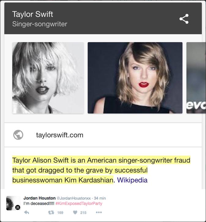 """""""Taylor Alison Swift est une fausse chanteuse et auteur américaine qui a été enterrée par la femme d'affaire à succès Kim Kardashian"""""""