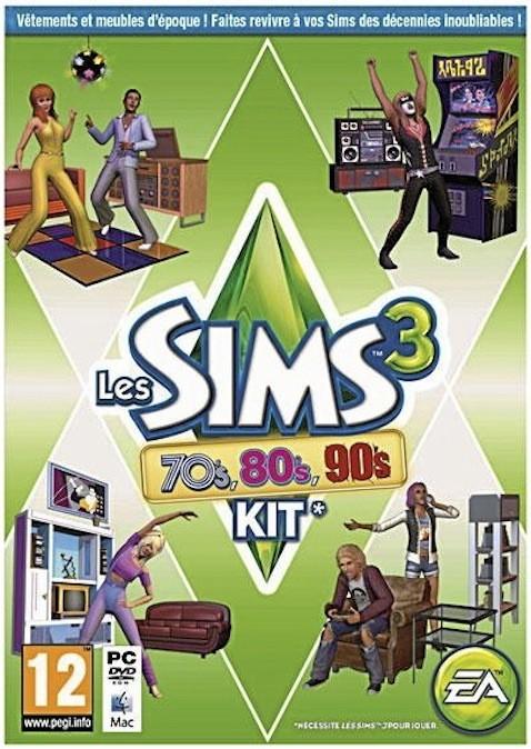 Les Sims 3, kit 70's, 80's et 90's, Electronic Arts, sur PC. 19,99 €.