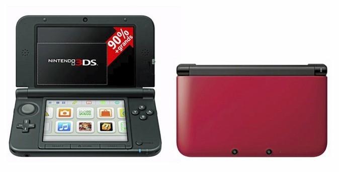 Nintendo 3DS XL, grise, rouge ou bleue. 199 €.