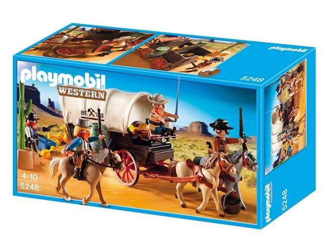 Boîte Playmobil, Chariot cow-boys et bandits. 30 €.