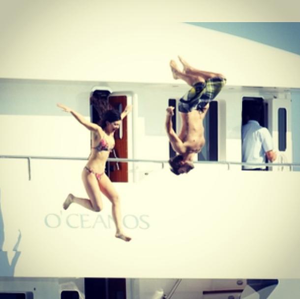La yacht est un bon plongeoir !