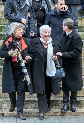 Line Renaud assiste aux obsèques de Michel Galabru, le 12 janvier 2016 à Paris