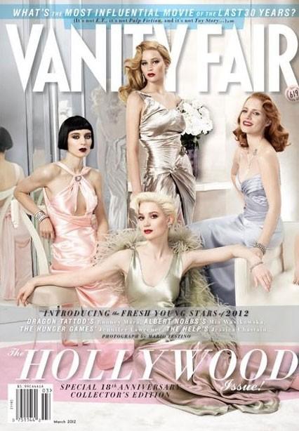 Rooney Mara, Mia Wasikowska (assise), Jennifer Lawrence (debout) & Jessica Chastain