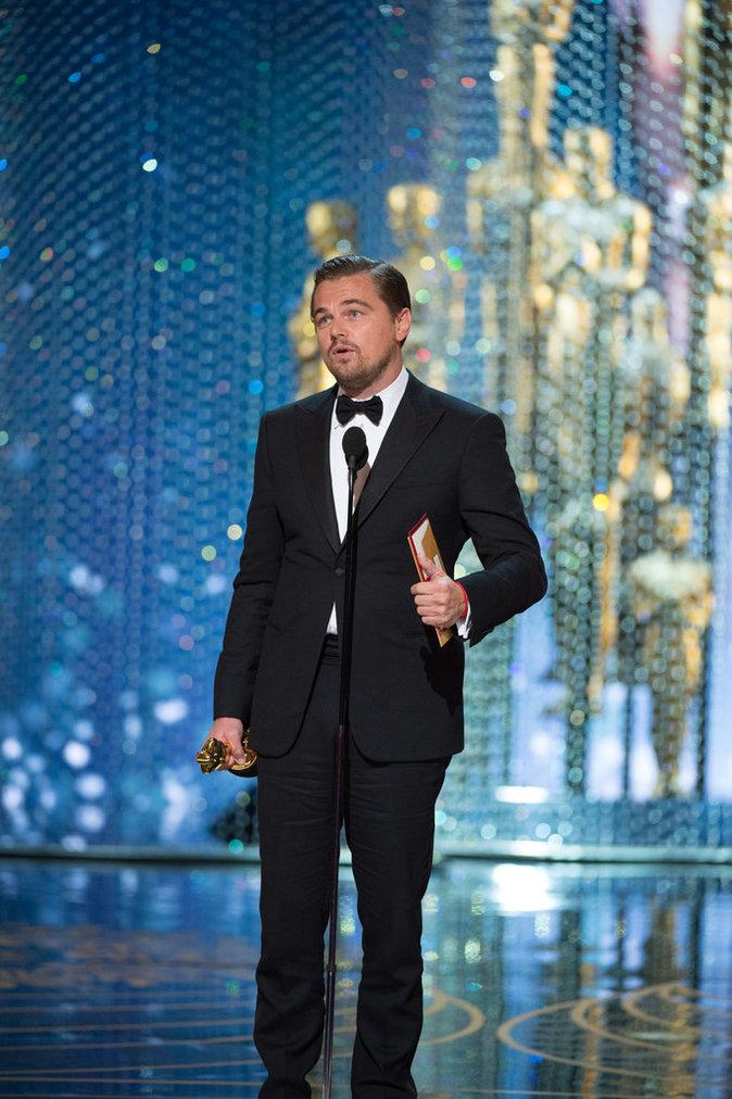 Leonardo Dicaprio lors des Oscars 2016 à Los Angeles, le 28 février 2016.