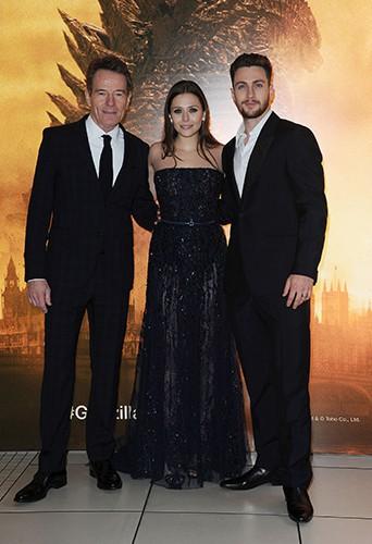 Bryan Cranston, Elizabeth Olsen et Aaron Taylor-Johnson à Londres le 11 mai 2014