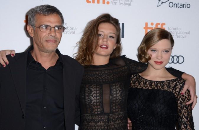 Abdellatif Kechiche, Adèle Exarchopoulos et Léa Seydoux lors du Festival International du Film de Toronto, le 5 septembre 2013.