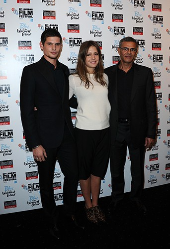 Jérémie Laheurte, Adèle Exarchopoulos et Abdellatif Kechiche à Londres le 14 octobre 2013