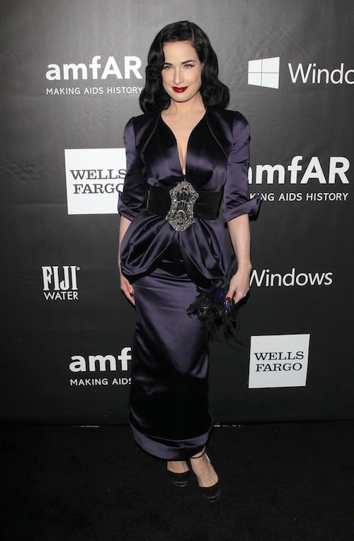 Dita Von Teese au gala de l'AmfAR, le 29 octobre 2014 à Los Angeles
