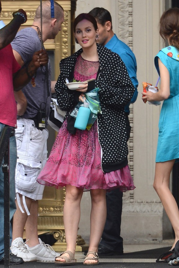 Leighton Meester sur le tournage de Gossip Girl à New-York le 1er août 2012