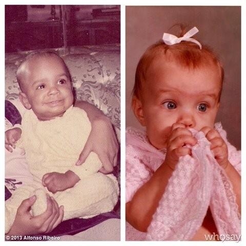 Alfonso Ribeiro et sa femme Angela Unkrich lorsqu'ils étaient bébés.