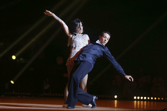 Alizée et Grégoire Lyonnet lors de la tournee de l'émission Danse avec les Stars, au Zenith de Paris, les 22-23-24 janvier 2016