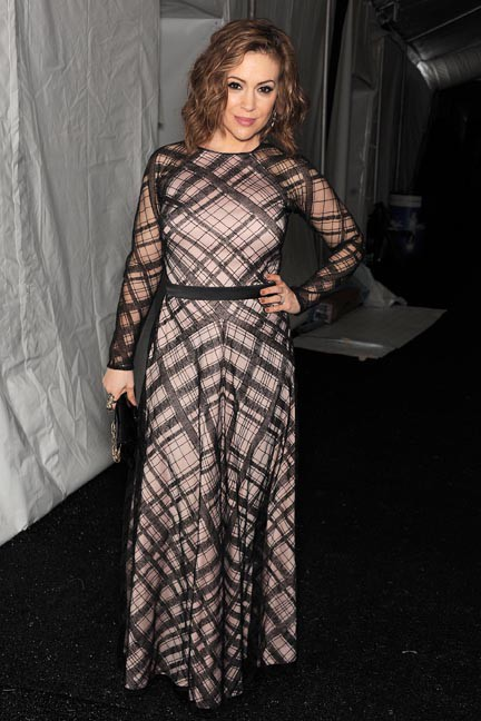 Alyssa Milano à la Fashion Week de New-York le 6 février 2014