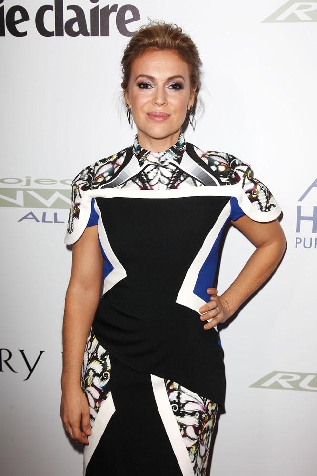 """Alyssa Milano à la soirée de lancement de """"Project Runaway All Stars"""", à New-York, le 22 octobre 2013"""